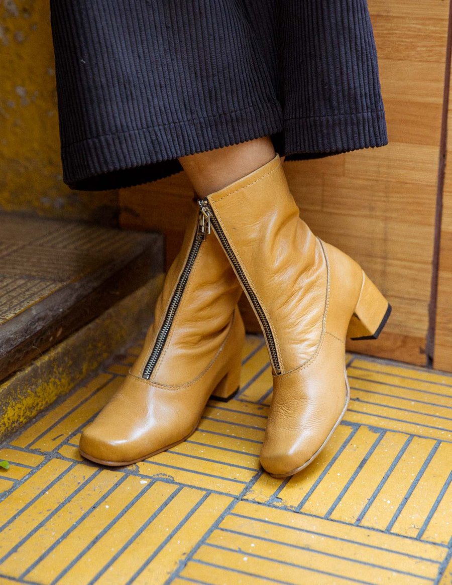 Mustard Square Ankle Boots