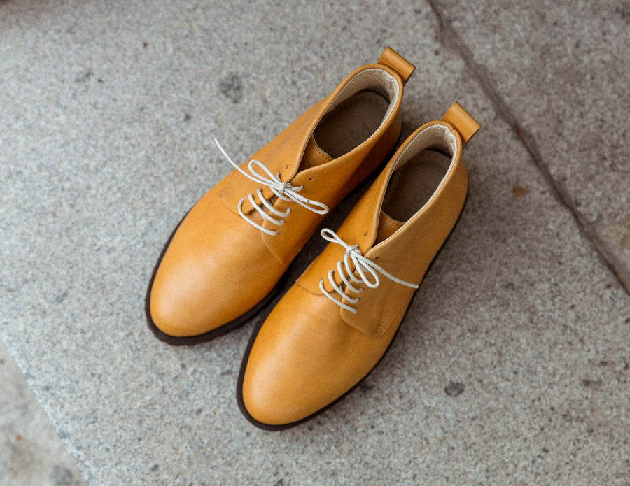 Mustard Lace Up Ankle Boots