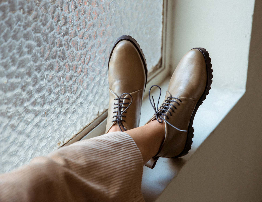 Toffee Lace Up Ankle Boots