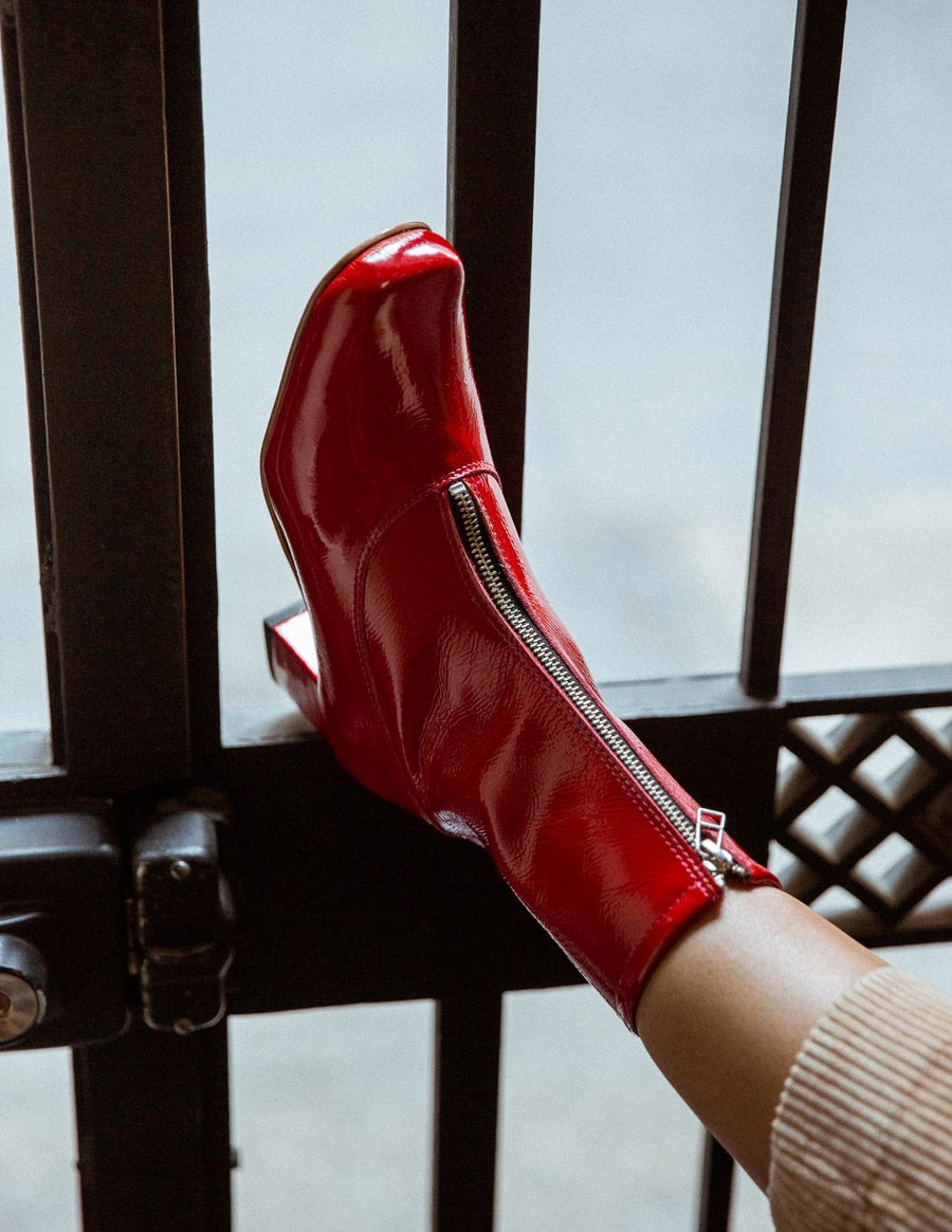 Red Square Ankle Boots