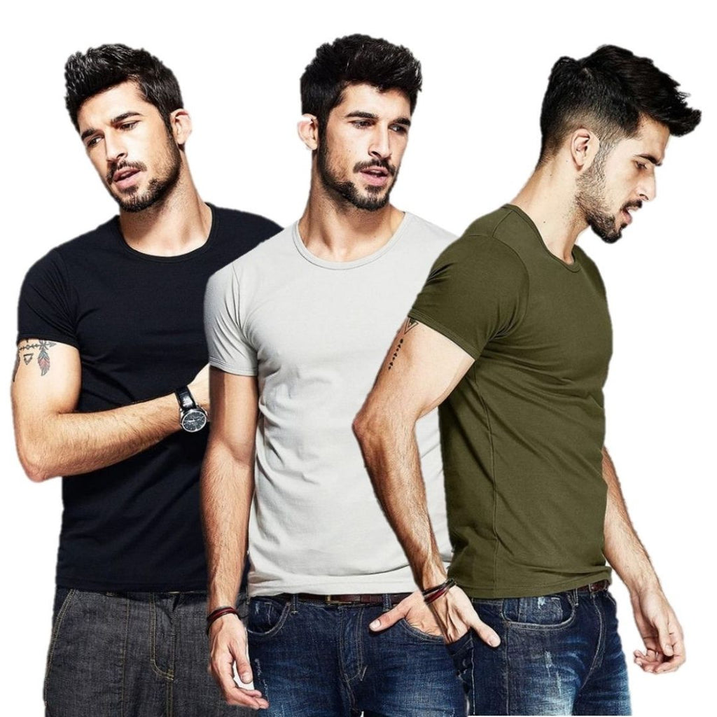 3-PACK Dearion Slim Fit T-Shirts Black + Light Gray + Army Green (2+1 Promo)