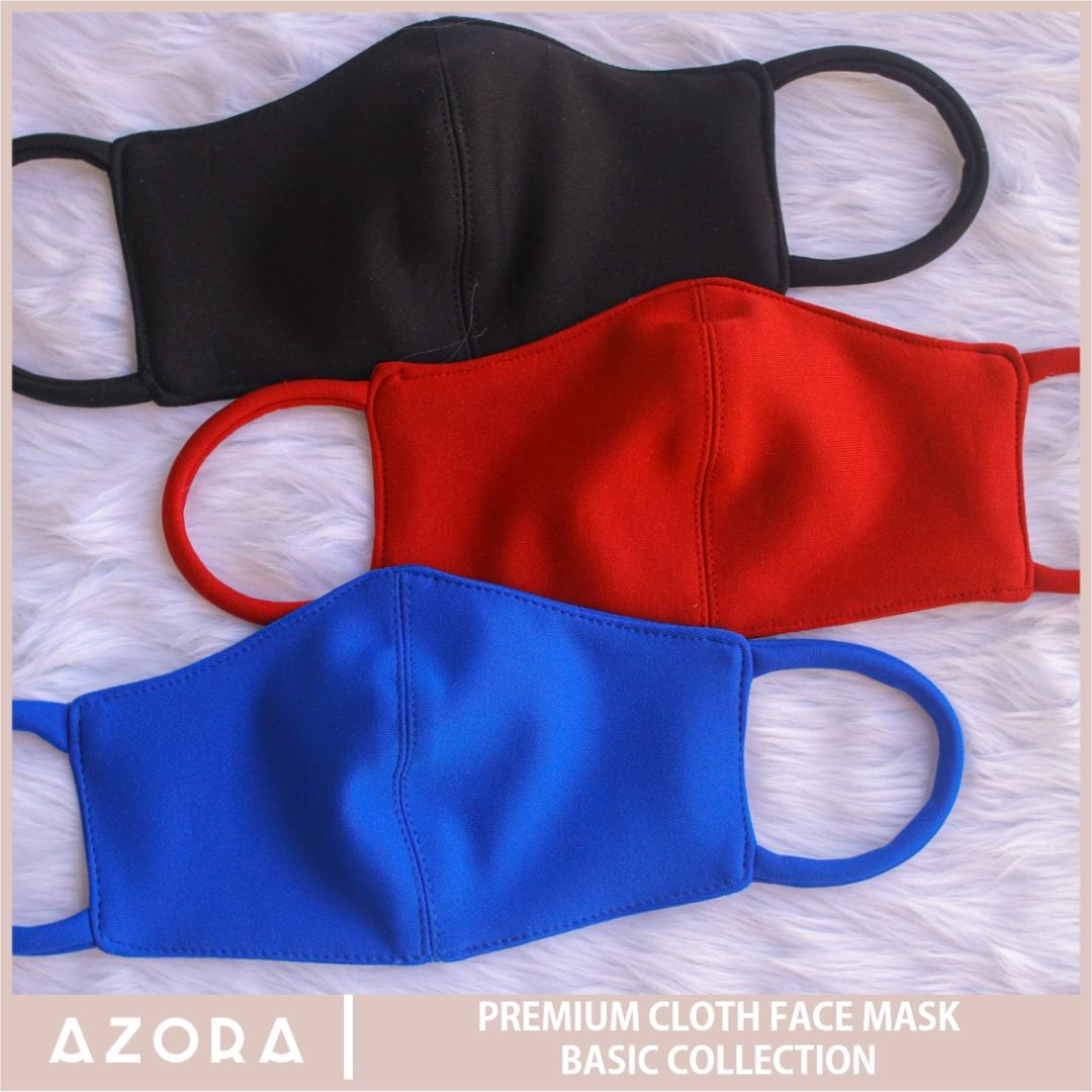 Set of 3 Basic Collection Cloth Face Mask (Blue + Red + Black)