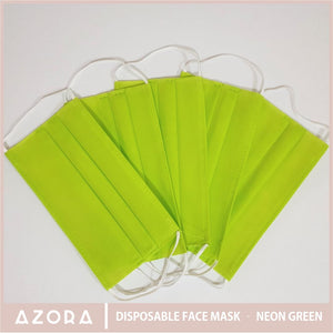 SET OF 50 Disposable Face Mask - Neon Green