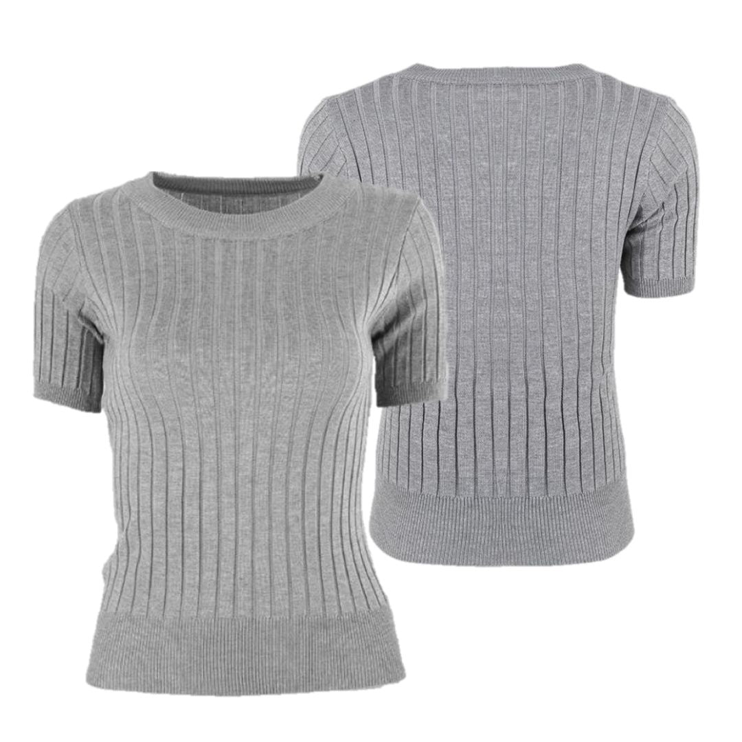 SET of 3 Cialda Knitted Blouse Black + White + Gray (BUY 2 GET 1 FREE)