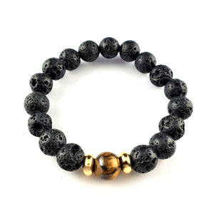 BUY 1 GET 1 Reason and Focus Tiger's Eye and Lava Natural Crystal Bracelet