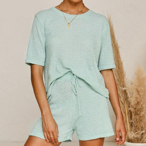 PIXIE Two Piece Set Knitted Top And Shorts