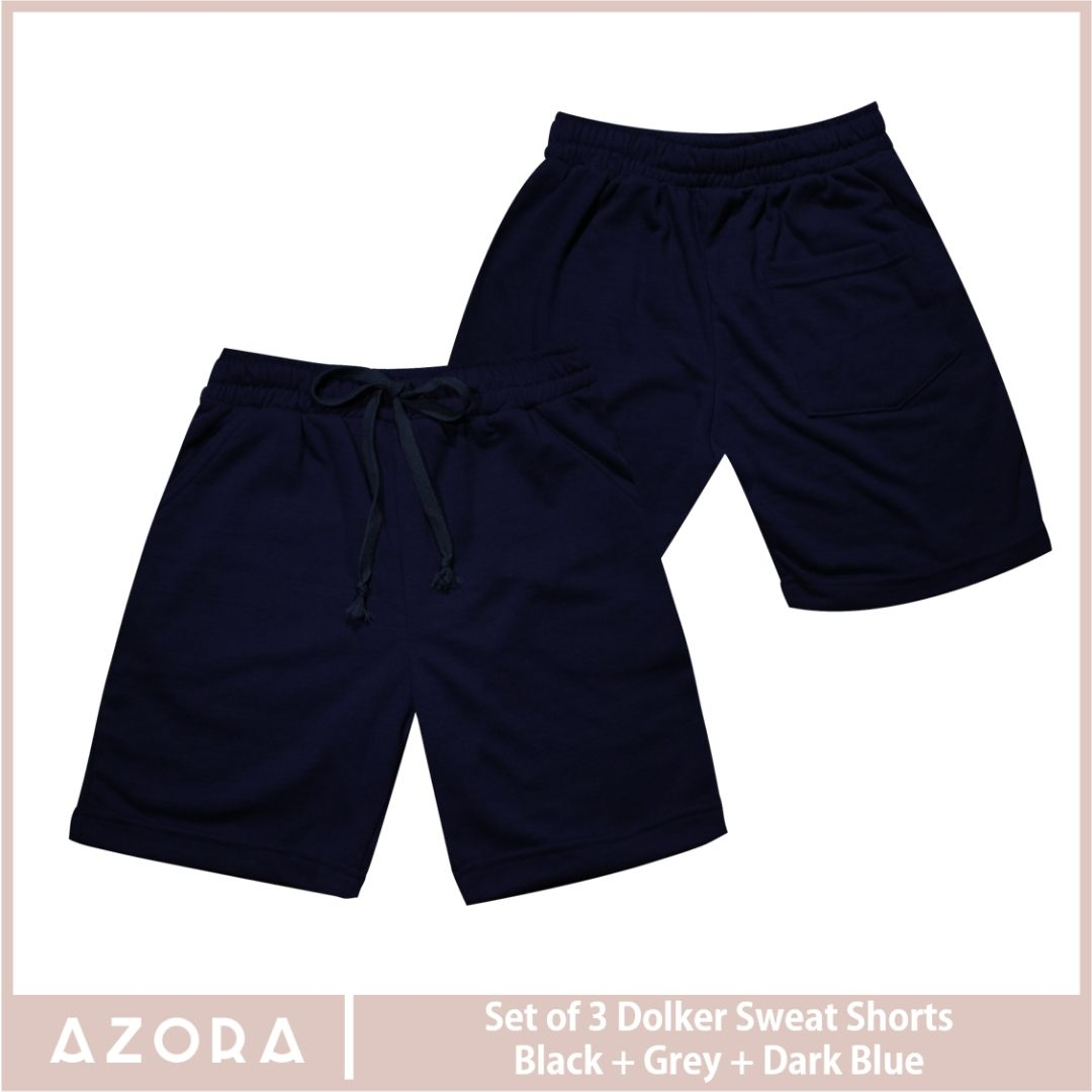 SET of 3 Dolker Sweat Shorts Black + Grey + Dark Blue (2+1 Promo)