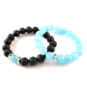 BUY 1 GET 1 Inner Tranquility Aquamarine and Lava Natural Crystal Bracelets
