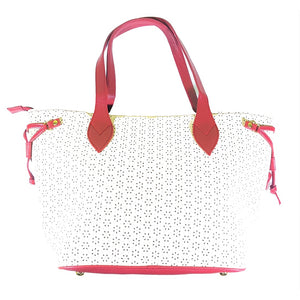 Cindy Laser-Cut Cream Maroon Tote Bag