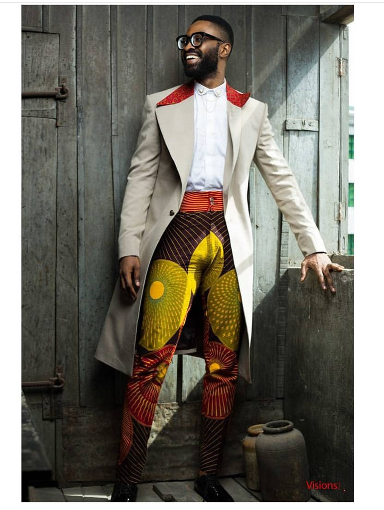 KAMSI TCHARLES -GENTLEMAN- (LONG JACKET, WHITE SHIRT, HIGH WAIST PRINT PANT)