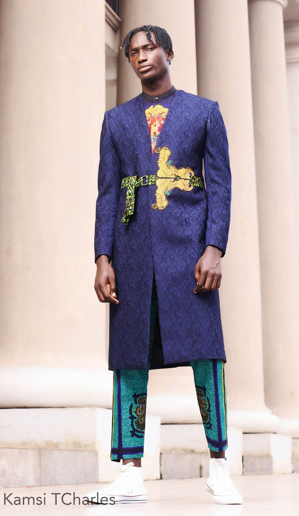 SAKKORA ANDROGYNOUS SET (A set of long Blue jacket, a print pant)