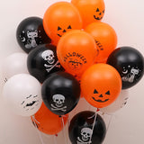 10pcs/lot Skull Bat Pumpkin Halloween Decor Balloon Inflatable Air Ball Kids Halloween Toys Birthday Party Decor Latex Balloons