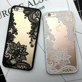 Romantisk Blomster cover iPhone 7 6 6S Plus sort hvidt