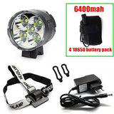 T6 Bicycle Light Headlight 7000 Lumen LED Bike Light Lamp Headlamp + 8.4V Charger + 6400mah Battery Pack