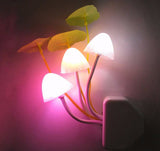 Mushroom Fungus Night Light EU Plug Light Sensor 220V 3 LED Colorful Mushroom Lamp Led Night Lights T0612 P0.4