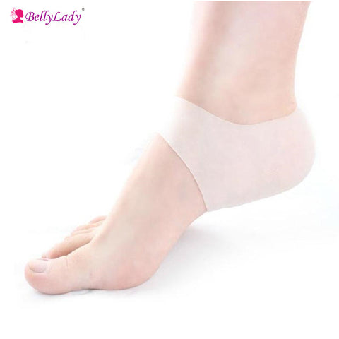 Pris for 1 set of 2, BellyLady Plantar Fasciitis Shock Absorbing Silicone Gel Sleeve Breathable Protective Heel Cracked Foot Skin Care Pain Relief