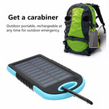 5000mAh Solar Panel Power Bank  Dual USB External Battery Pack Power Charger With Charging Cable 7 Colors For Phone Tablet
