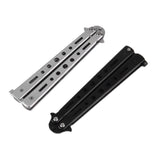 Pro Salon Stainless Steel Folding Practice Training Butterfly Style Knife Comb Tool Black,Silver Cool
