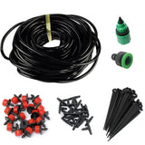 25m DIY Micro Drip Irrigation System Plant Self Automatic Watering Timer Garden Hose Kits With Connector+10 X Adjustable Dripper