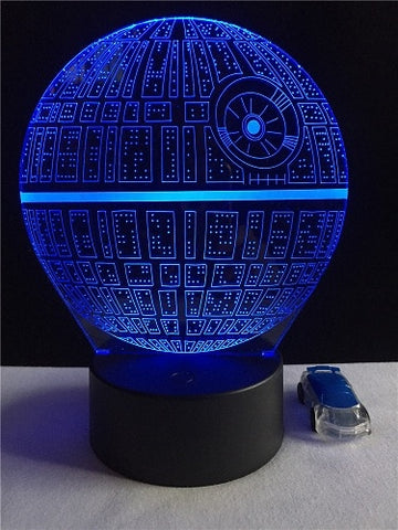 3D Lamp Death Star War R2D2 BB-8 Darth Vader Stormtrooper Knight LED Table NIGHT LIGHT Multicolor Cartoon Toy Luminaria