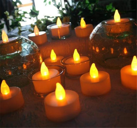 12pcs LED Tea Light Candles Realistic Battery-Powered Flameless Candles free shipping wholesale  J10