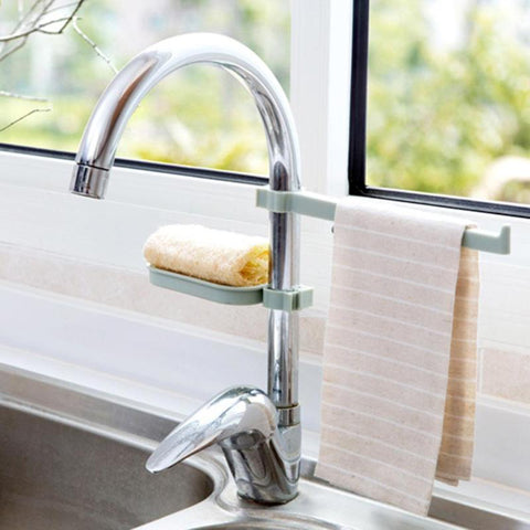 Hot Sink Hanging Storage Rack Storage Holder Sponge Bathroom Kitchen Faucet Clip Dish Cloth Clip Shelf Drain Dry Towel Organizer