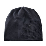 Women's Fashion Rhinestone Flower Hat Scarf Winter Warm Beanies Scarves Set For Girls Thick Velvet Bonnet Femme Skullies Caps