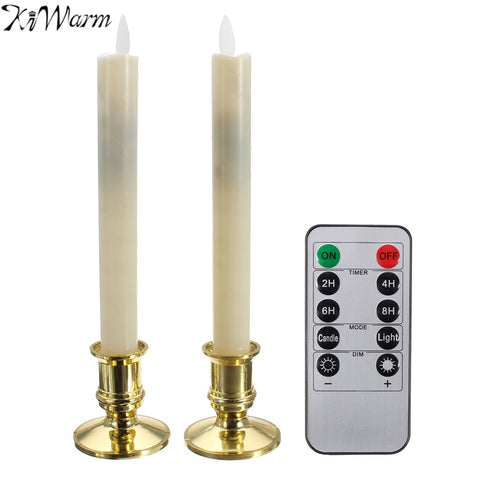 KiWarm 2Pcs Electric LED Candles Flickering Flameless Candle Light With Remote Control Battery for Home Christmas Party Decor