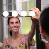 Portable LED Mirror Light Hollywood 4 Bulb Makeup Mirror Night Light Vanity Light Headlights Easy-Installed Makeup Lamp D