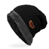 Men's Labeling Knitted Hats fibres Wool Caps Winter 6 Colors choic 24*29cm