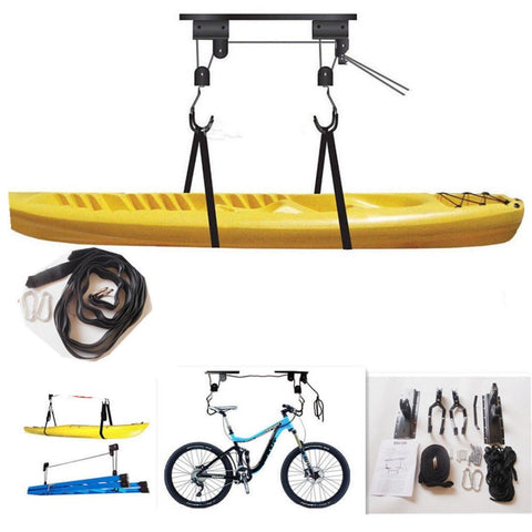 1Set Canoe Boat Kayak Hoist Bike Lift Pulley System Kit Garage Ceiling Storage Rack Bicycle Rack With 15M Rope Max Load 20KG New