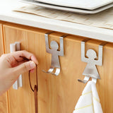 2Pcs/set Stainless Steel Lovers Shaped Hooks House Kitchen Pot Pan Hanger Clothes Storage Rack Tool 40
