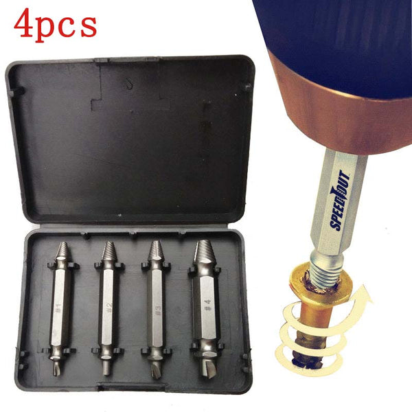 4pcs/set SpeedOut Damaged Screw Extractor & Bolt Extractor Set