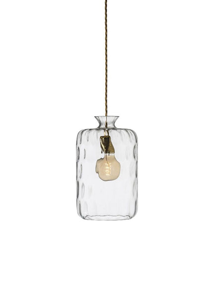 Pillar Pendant Clear w brass and dimples