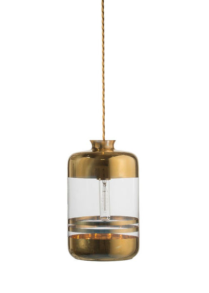 Pillar Pendant Gold stripes on clear