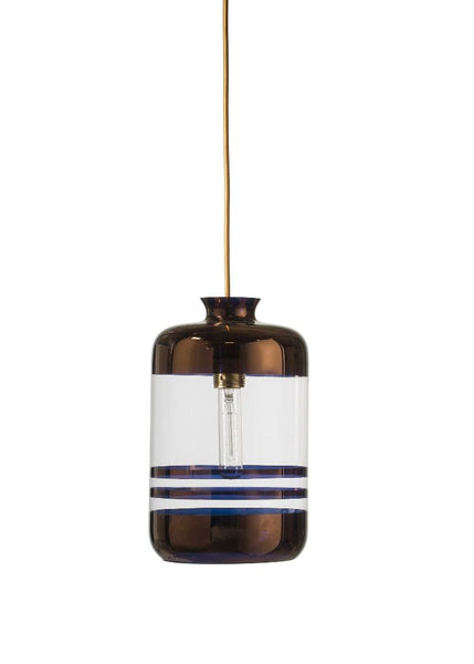 Pillar Pendant Copper stripes on clear