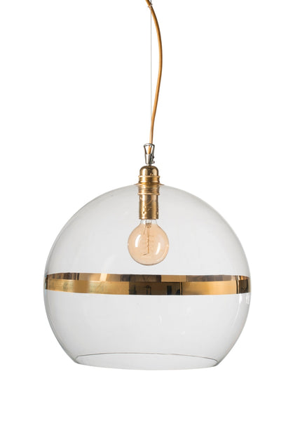 Rowan Pendant Ø39cm Gold stripe on clear