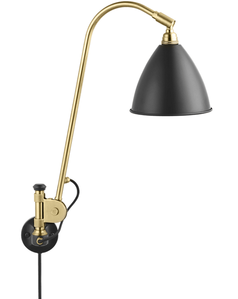 Bestlite BL6 with switch wall lamp Charcoal Black/Brass