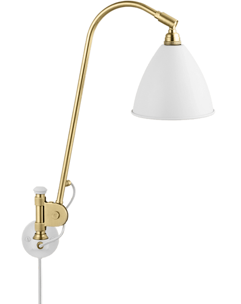 Bestlite BL6 with switch wall lamp White/Brass