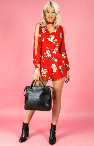 Split Playsuit - Red - April Bloom Boutique AU
