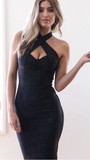 Dalila Suedette Dress - Black - April Bloom Boutique AU