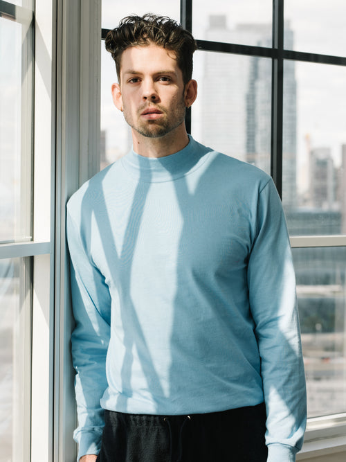 Jersey Mock Neck - College Blue