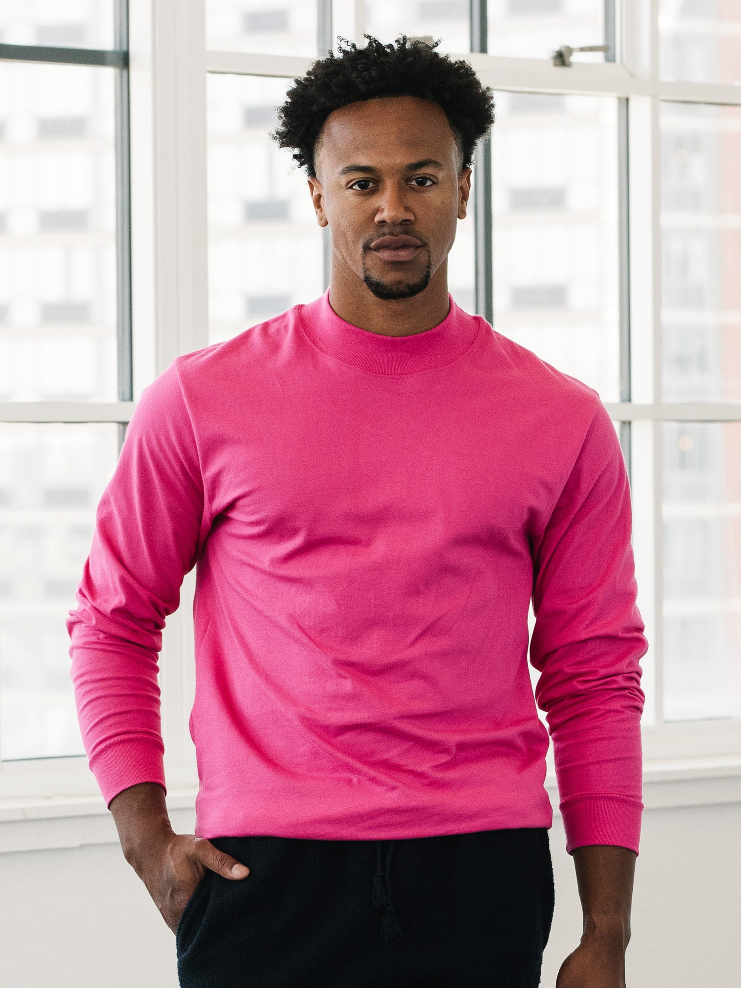 Jersey Mock Neck - Hot Pink