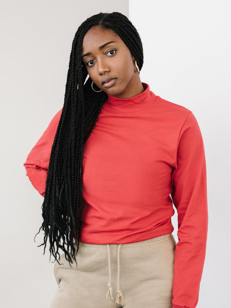 Jersey Mock Neck - Red