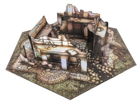 Ruins Pop-Up Terrain, 12 Inch - Digital Download - Printing & Assembly Required