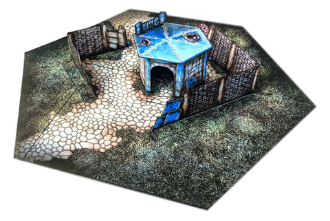Hut with Wall Pop-Up Terrain, 12 Inch - Digital Download - Printing & Assembly Required