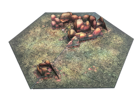 Rocky Field Pop-Up Terrain, 12 Inch - Digital Download - Printing & Assembly Required