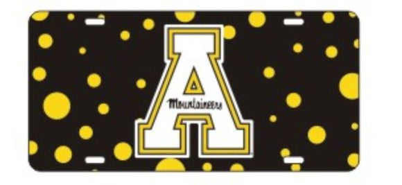 Appalachian State Mountaineers Polka Dot Laser Cut Car Tag
