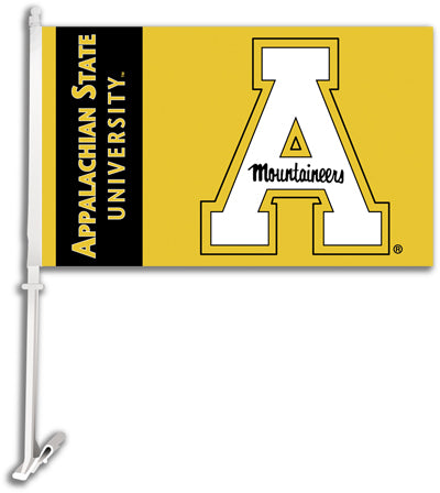 Appalachian State Mountaineers Gold Block A Car Flag