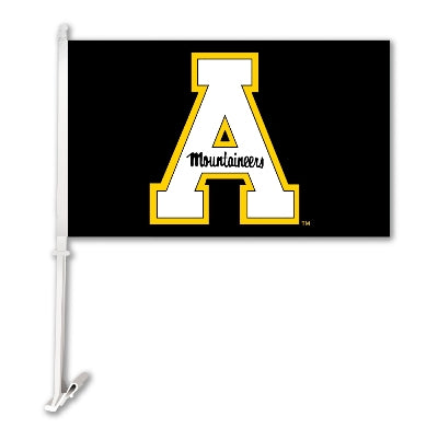 Appalachian State Mountaineers Black Block A Car Flag